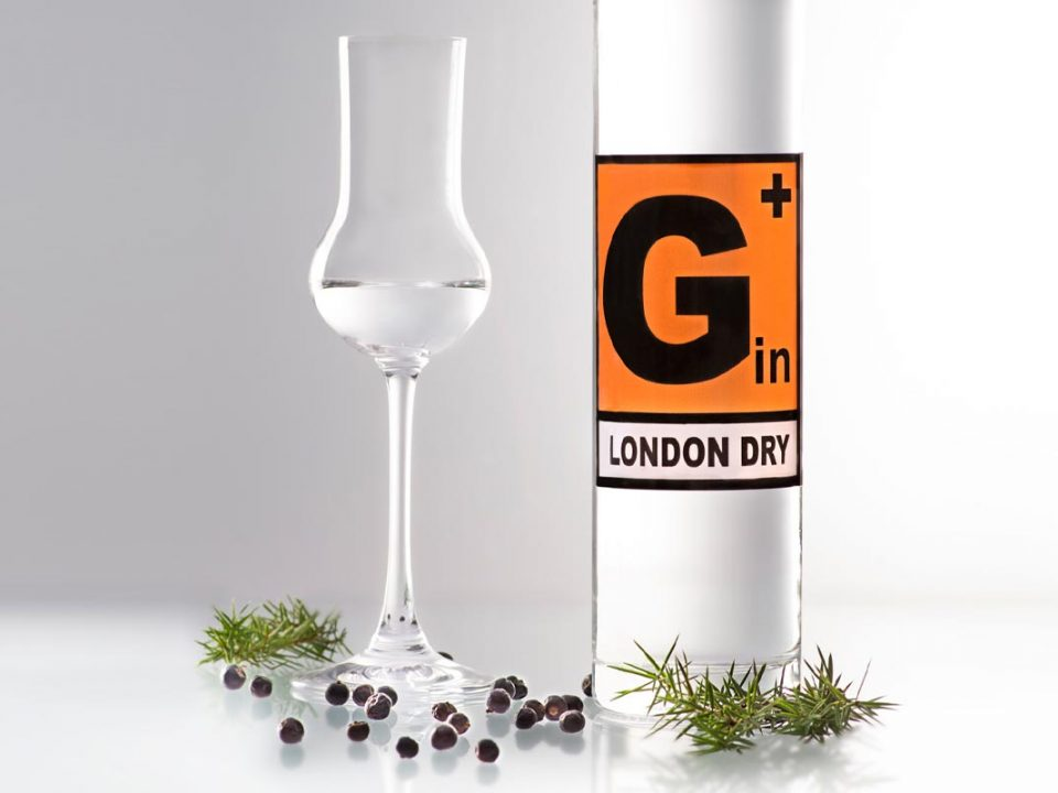 Tall, slim 500ml bottle of G+ London Dry