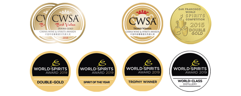 Various Distillery Krauss awards. World Spirits Award. San Francisco World Spirits Competition, China Wine and Spirits Award