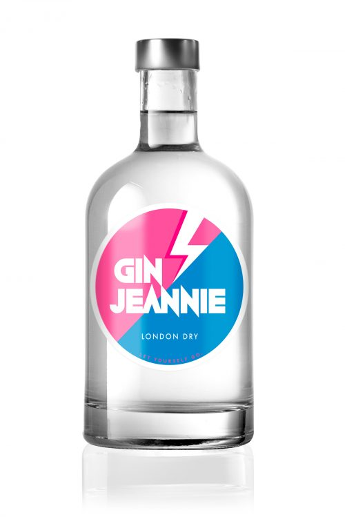 500ml bottle with gin jeanny. Round label with pink-blue background.