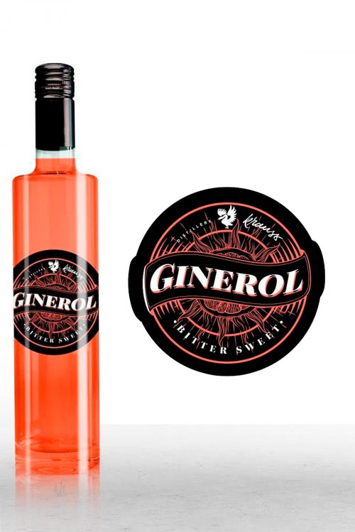Slim 500ml bottle with round, black label. red content. the round Ginerol label is shown again next to the bottle.
