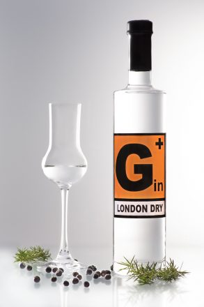 Tall, slim bottle of gin, G+ London Dry Gin with tasting glass and juniper as decoration, orange danger symbol on the label